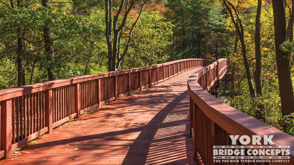 Stonehill College Pedestrian Bridge – Easton, MA | York Bridge Concepts - Timber Bridge Builders