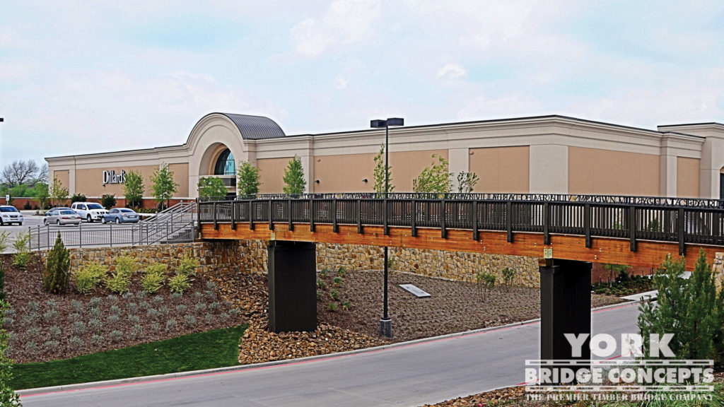 Uptown Village Pedestrian Bridge - Cedar Hill, TX | York Bridge Concepts - Timber Bridge Builders