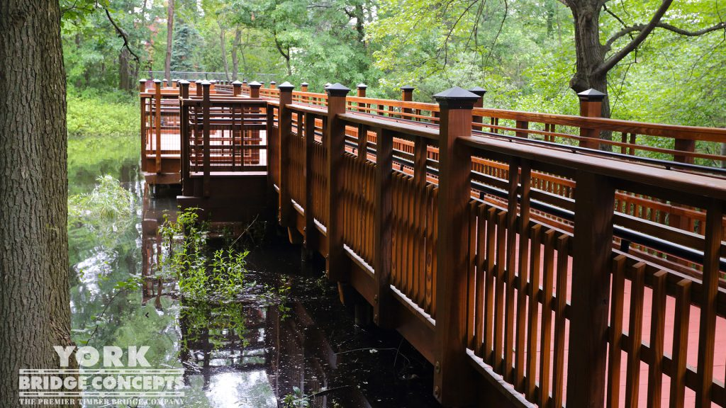 Perkins School for the Blind Pedestrian Bridge – Watertown, MA | York Bridge Concepts - Timber Bridge Builders