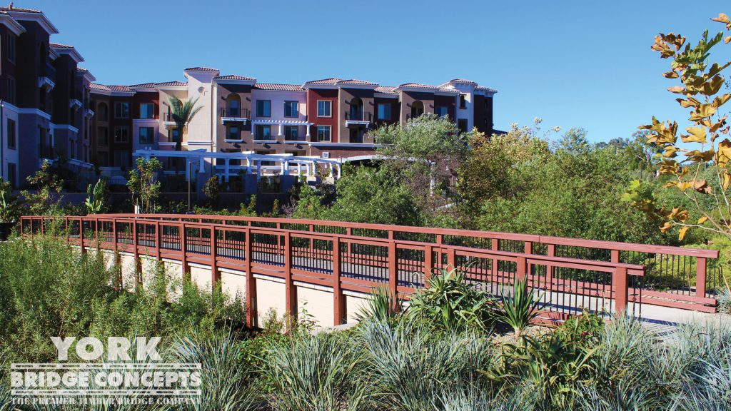 Adagio on the Green Apartments Pedestrian Bridge – Mission Viejo, CA | York Bridge Concepts - Timber Bridge Builders
