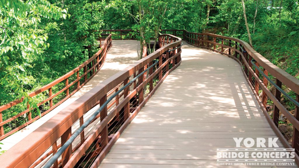 Cancer Survivor's Park Timber Boardwalk - Greenville, SC | York Bridge Concepts - Timber Bridge Builders