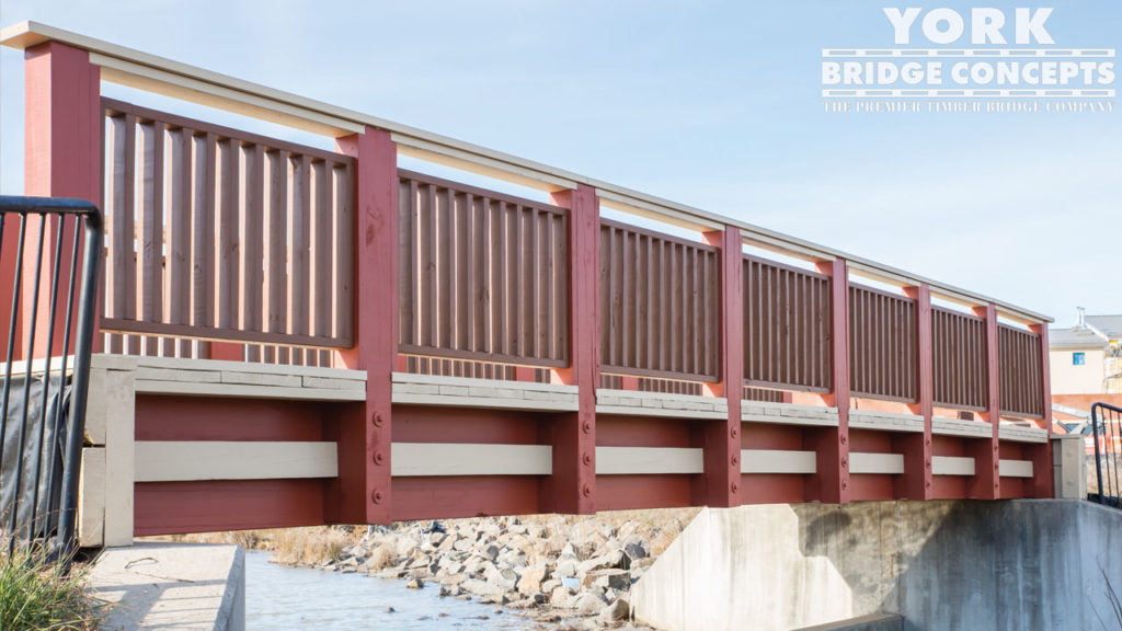 Dulles South Multipurpose Center Pedestrian Bridge - Fairfax, VA | York Bridge Concepts - Timber Bridge Builders