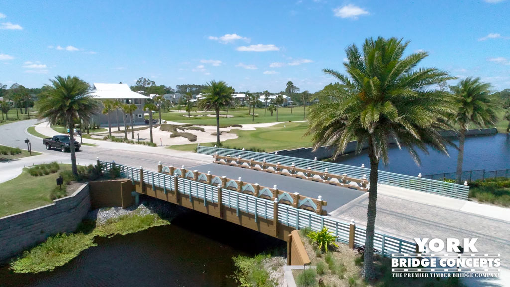 Atlantic Beach Country Club Timber Vehicular Bridge with Attached Golf Cart Bridges