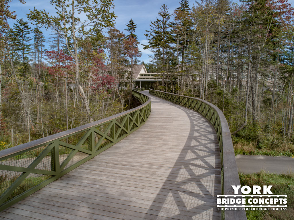 Coastal Maine Timber Pedestrian Bridge - Boothbay, ME | York Bridge Concepts