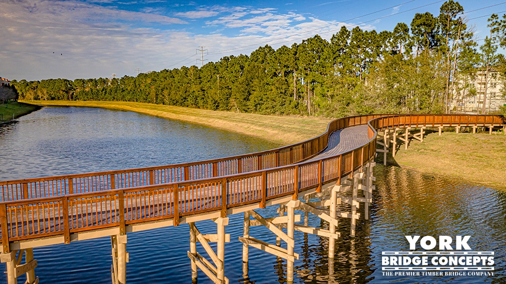 Oasis at Town Center Wooden Footbridge - Jacksonville, FL | York Bridge Concepts